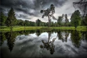 Бесплатные фото озеро, тучи, деревья, пейзаж