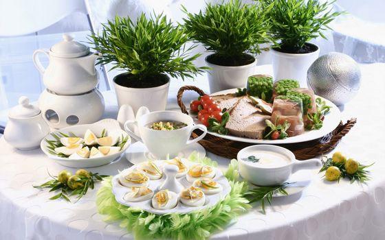 Бесплатные фото стол,посуда,блюда,разные,соус,мясо,горшки,зелень
