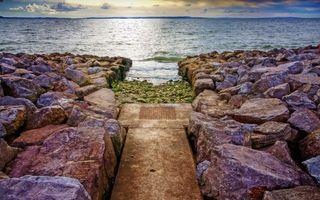 Бесплатные фото берег,камни,валуны,дорожка,плита,море,горизонт