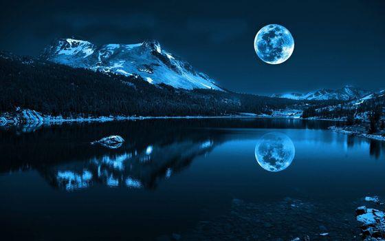 Photo free lake, night, big moon
