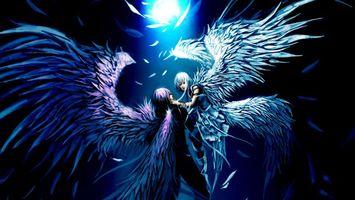 Заставки ангелы,пара,полет,крылья,перья,свет