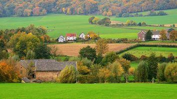 Бесплатные фото Лимбург,Голландия,поля,дома,деревья,пейзаж