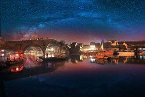 Заставки Чжуцзяцзяо, город на воде, Шанхай, Китай, ночь, звёзды, мост