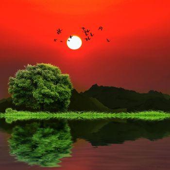 Фото бесплатно озеро, горы, солнце