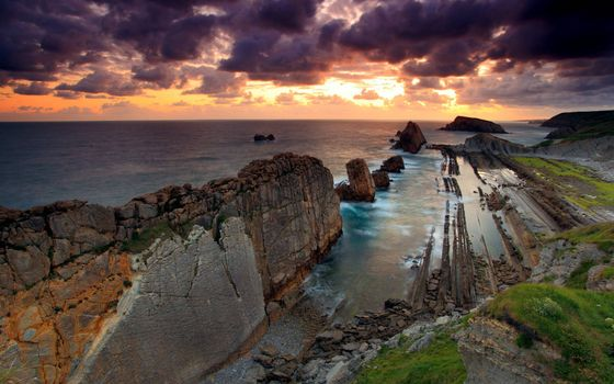 Фото бесплатно скалы, берег моря, закат солнца
