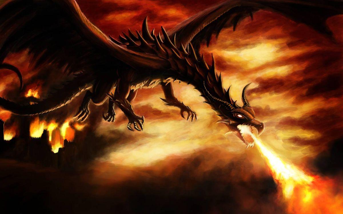 Картинка дракон, пламя на рабочий стол