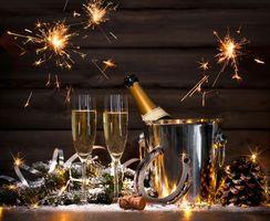 Обои новогодние обои, новогодний клипарт, с новым годом, Magical Christmas, шампанское, бокалы