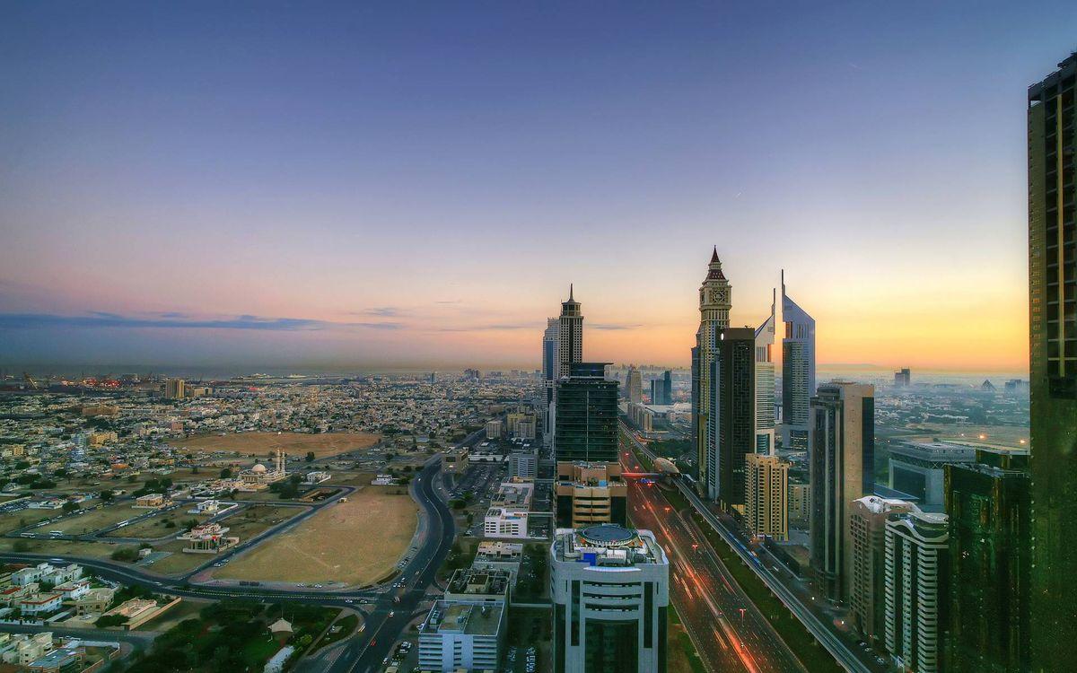Фото бесплатно небоскребы, машины, дорога - на рабочий стол