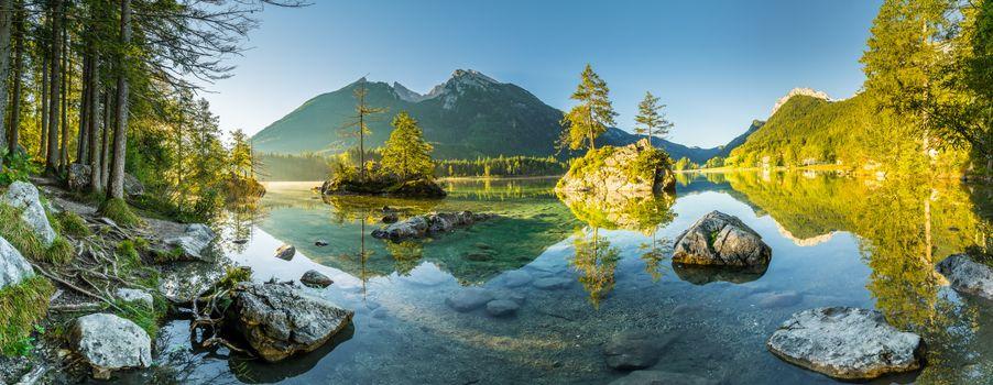 Бесплатные фото Бавария,Берхтесгаден,Хинтерзее озеро,пейзаж,восход солнца,панорама