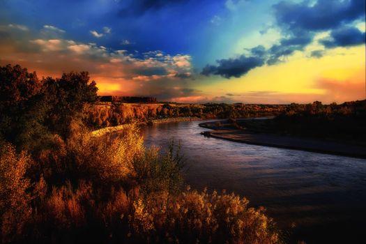 Заставки San Juan River, Utah, закат