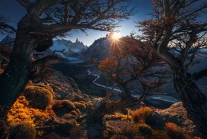 Patagonia, Argentina, закат, горы, пейзаж