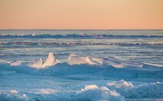 Бесплатные фото зима,озеро,снег,льдины,горизонт,небо