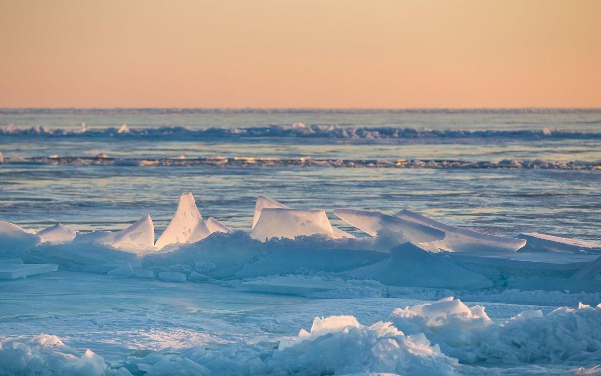 Фото бесплатно снег, горизонт, озеро - на рабочий стол