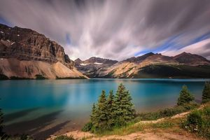 Alberta, Banff National Park, Bow Lake, Canada, закат