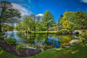 Фото бесплатно Квинстаун Сад, Новая Зеландия, парк, водоём, мост, деревья, пейзаж