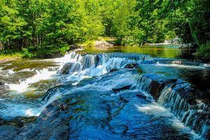 Бесплатные фото лес, деревья, река, водопад, природа