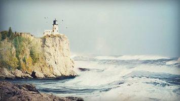 Бесплатные фото Маяк, берег океана, волны, скала, брызги