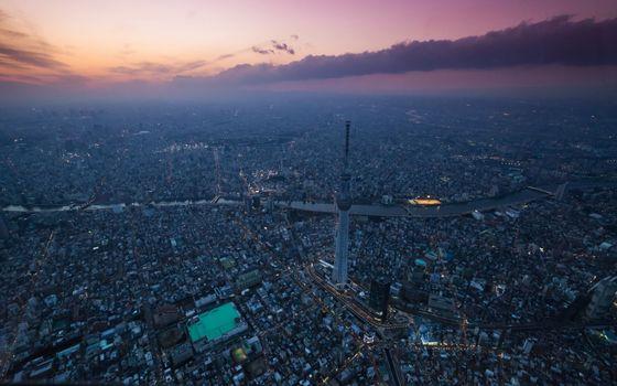 Фото бесплатно Токио, с высоты птичьего, город