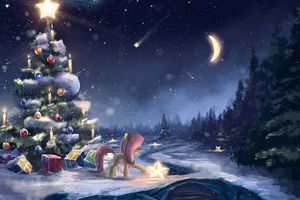 Фото бесплатно новогодняя елка, рисунок, луна, звезды, подарки, игрушки