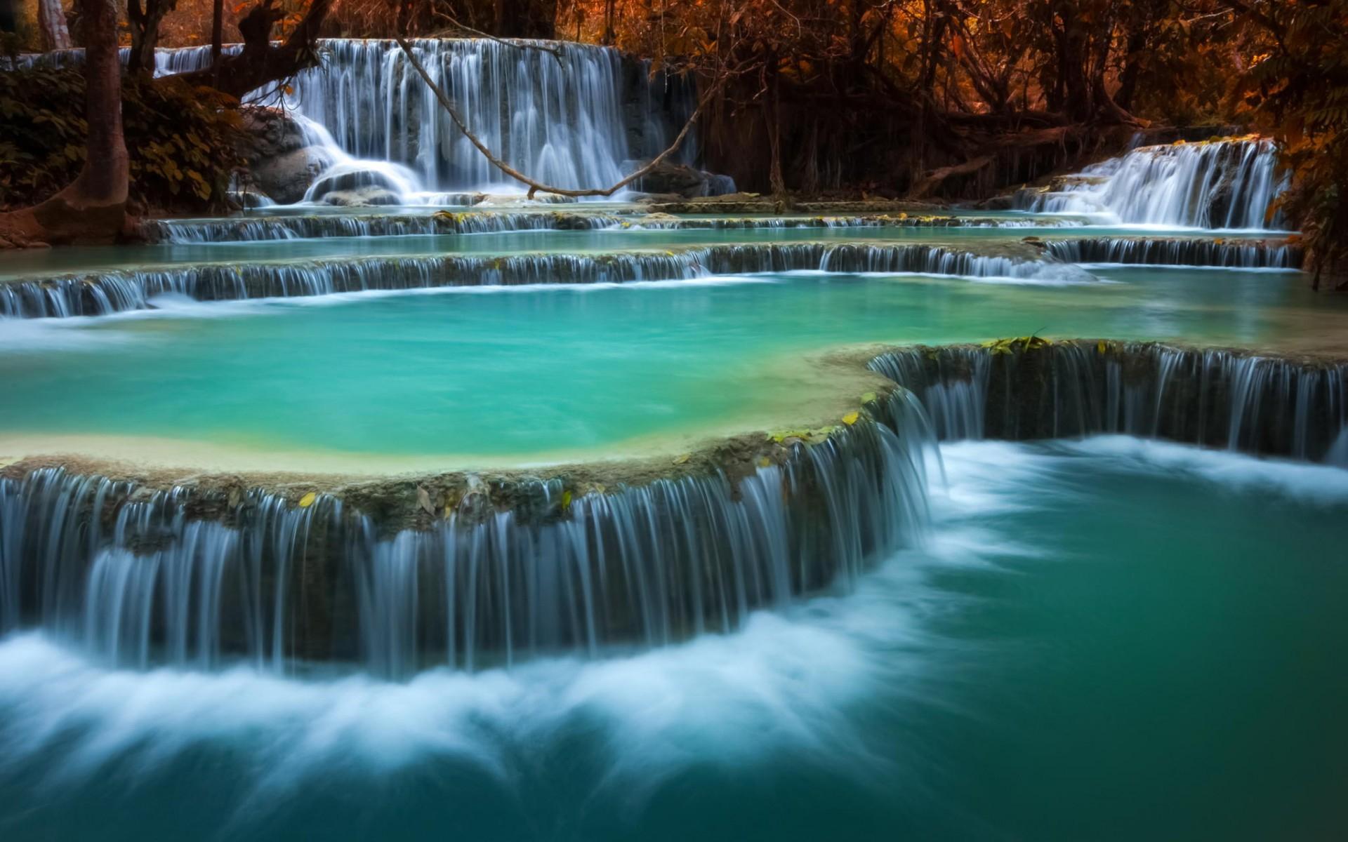 обои водопады, пороги, река, лес картинки фото