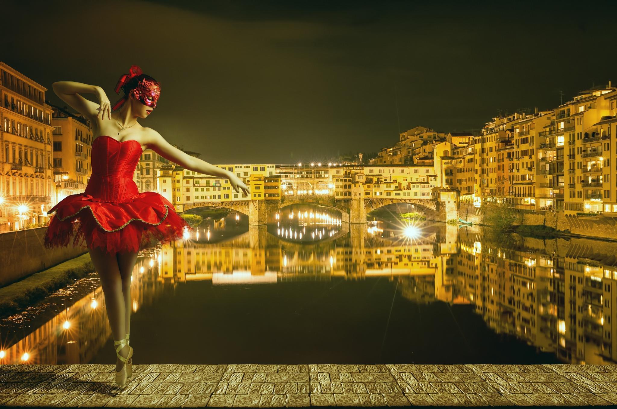 обои Мост Понте Веккьо, Флоренция, девушка, балерина картинки фото