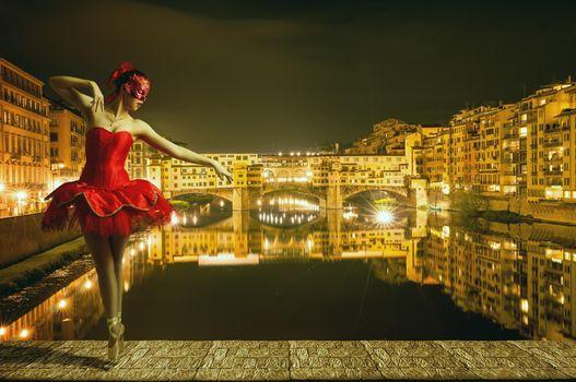 Фото бесплатно Мост Понте Веккьо, Флоренция, девушка, балерина, танец