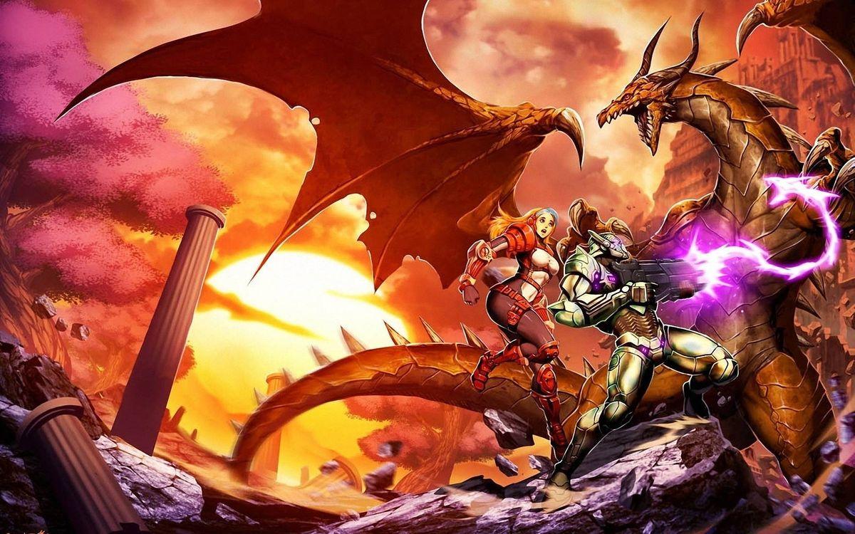 Фото бесплатно дракон, пасть, рога, крылья, схватка, робот, бластер, лазер, выстрел, девушка, костюм, мультфильмы