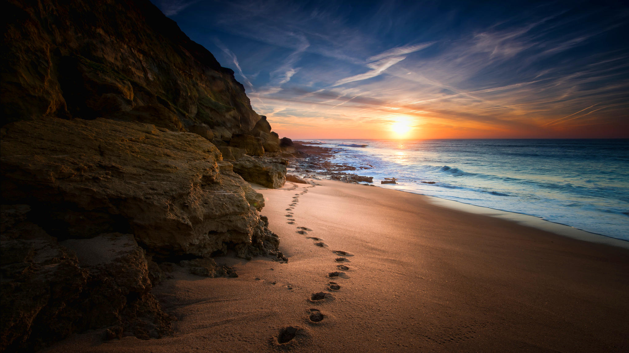 обои море, закат, берег, скалы картинки фото