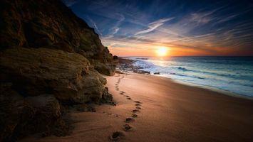 Бесплатные фото море,закат,берег,скалы,пляж,пейзаж