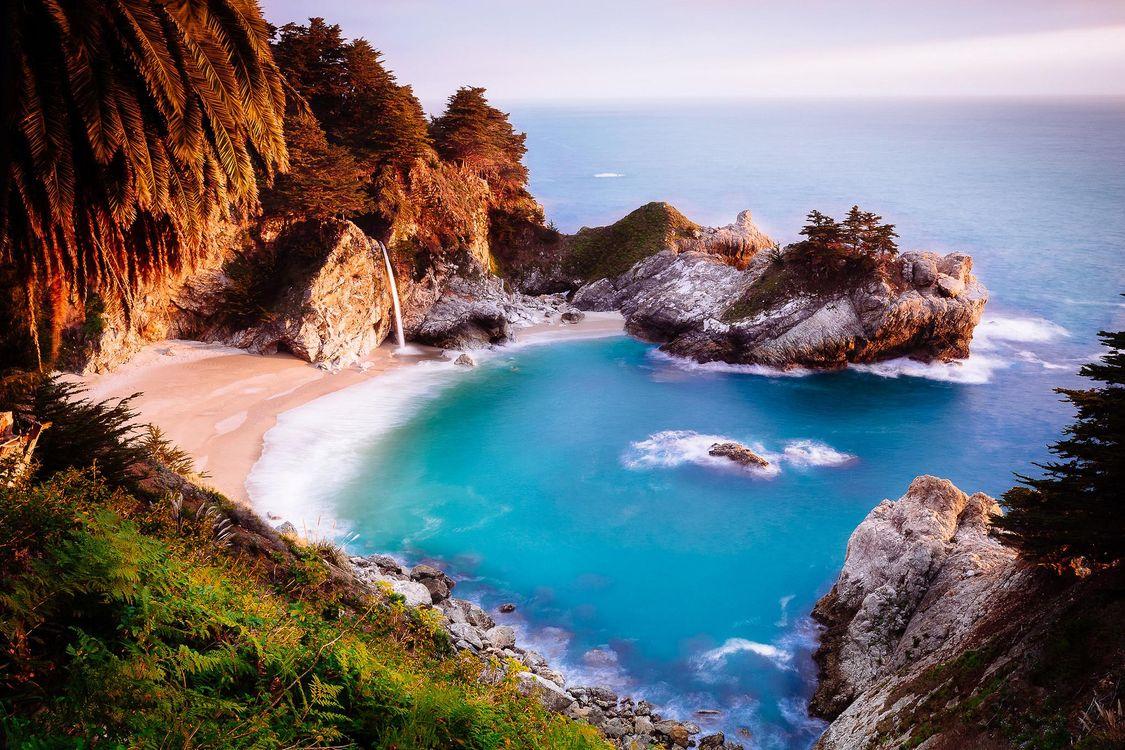 Фото бесплатно McWay Falls, Big Sur, California, Julia Pfeiffer Burns State Park, море, океан, берег, водопад, пейзаж, пейзажи