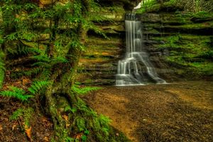 Фото бесплатно Old Mans Cave, Hocking Hills State Park, Ohio, речка, скалы, водопад, деревья, природа
