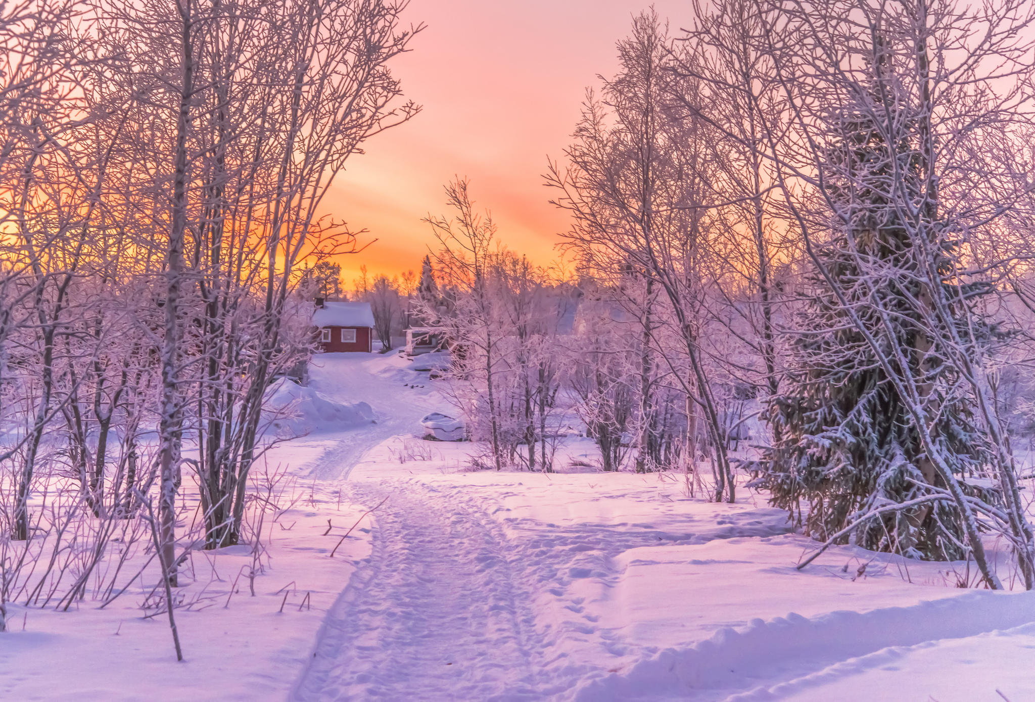 обои зима, закат, снег, дорога картинки фото