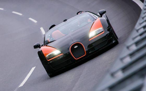 Фото бесплатно Bugatti, кабриолет, трасса