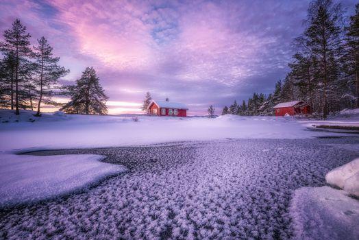 Фото бесплатно дом, Скандинавия, зима