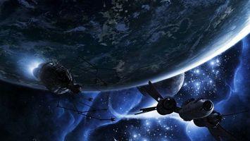 Фото бесплатно планеты, звезды, космические корабли