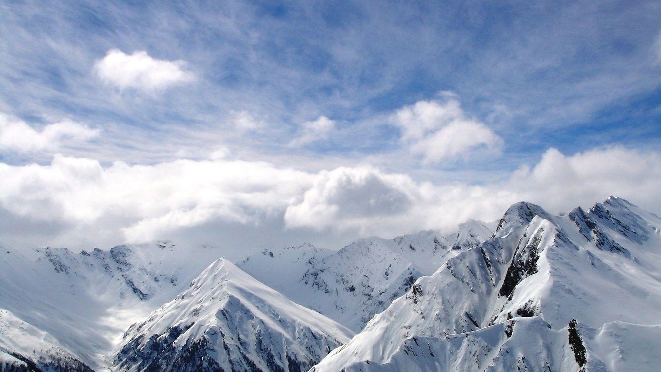 Фото бесплатно горы, вершины, снег, облака, небо, природа