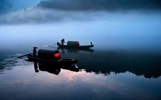 Бесплатные фото Китай,каноэ