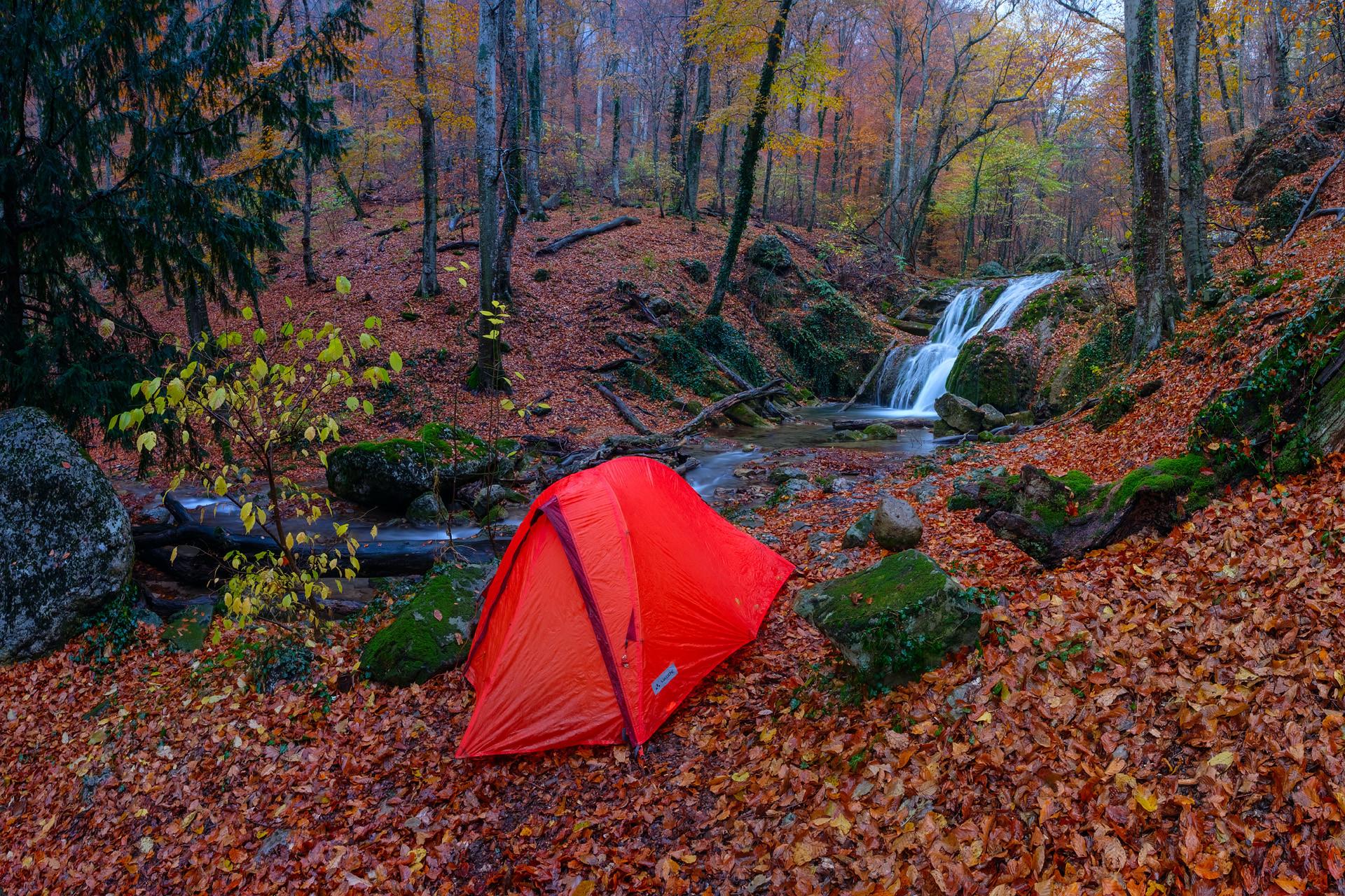 обои осень, лес, водопад, речка картинки фото