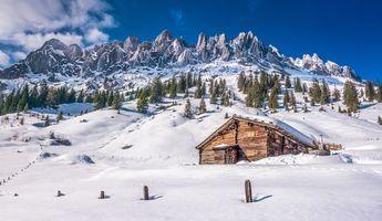 Бесплатные фото зима,горы,домик,деревья,пейзаж