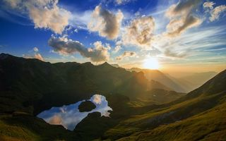 Фото бесплатно отражение, горы, солнце