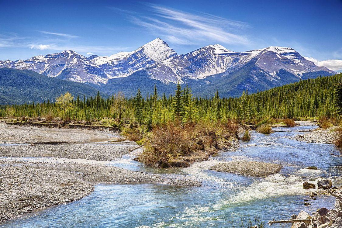 Фото бесплатно Kananaskis, Mount Glasgow, река, горы, деревья, пейзаж, пейзажи