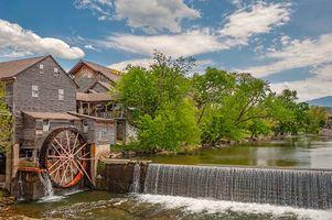 Бесплатные фото река,водопад,водяная мельница,деревья,пейзаж