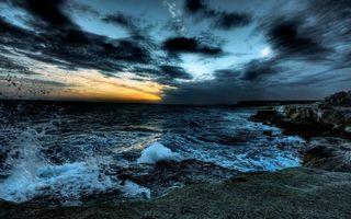 Фото бесплатно волны, растительность, облака