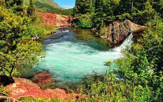 Заставки горы, камни, трава, деревья, река, водопад