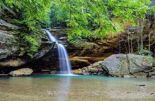 Фото бесплатно Hocking Hills State Park, Ohio, лес, деревья, скалы, водопад, пейзаж