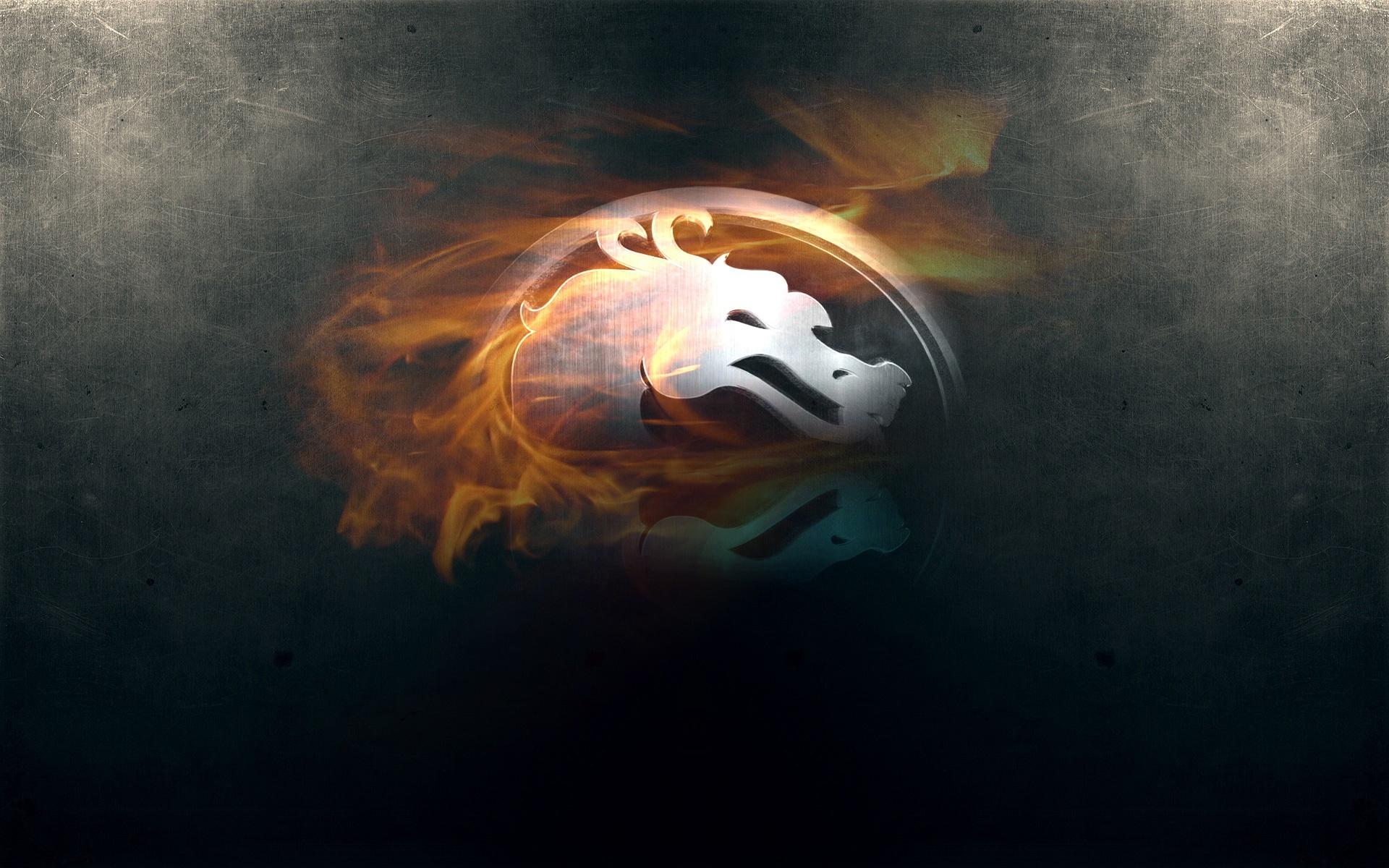 Обои мортал комбат, знак, дракон, пламя