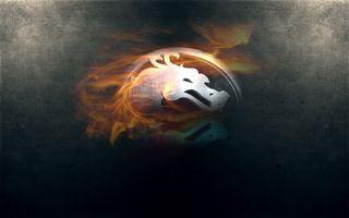Фото бесплатно мортал комбат, знак, дракон, пламя, фон серый