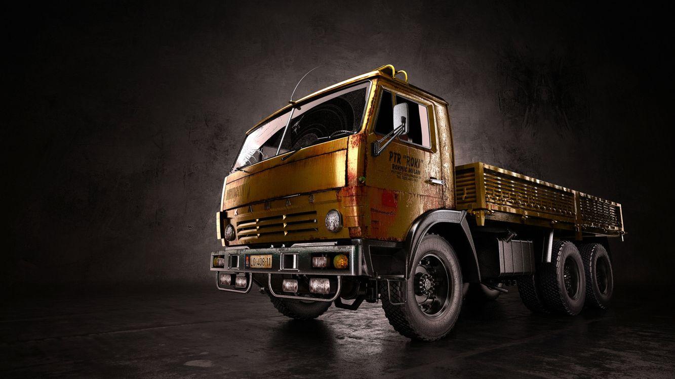 Фото бесплатно грузовик, камаз, кабина, фары, кузов, колеса, машины