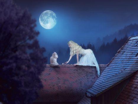 Фото бесплатно ночь, девушка, кошка