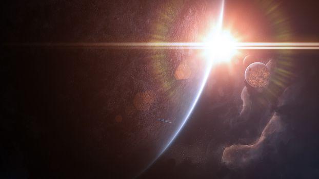 Фото бесплатно космический восход солнца, планета